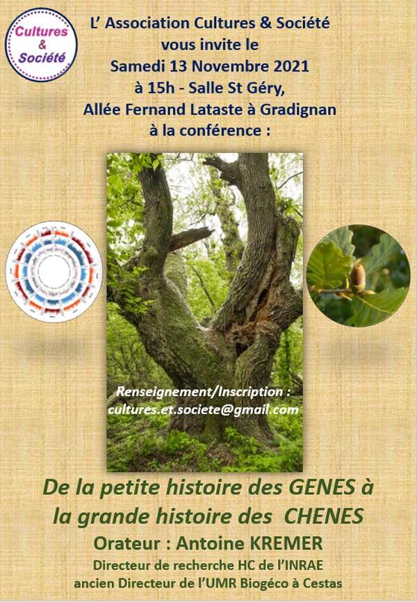 """Affiche Flyer de la conférence """"De la petite histoire des gênes à la grande histroire des chênes"""" du 13 novembre 2021"""